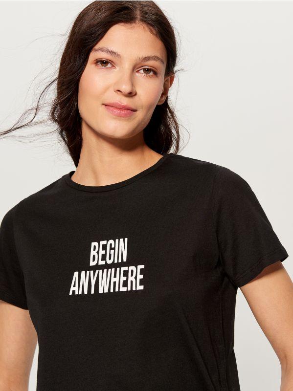 T-krekls ar apdruku - melns - VT024-99X - Mohito - 2