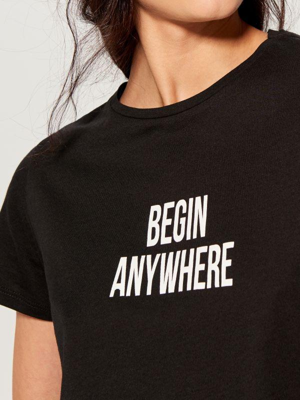 T-krekls ar apdruku - melns - VT024-99X - Mohito - 3