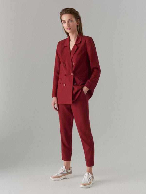 Lyocell double breasted blazer - burgundy - VU584-83X - Mohito - 2