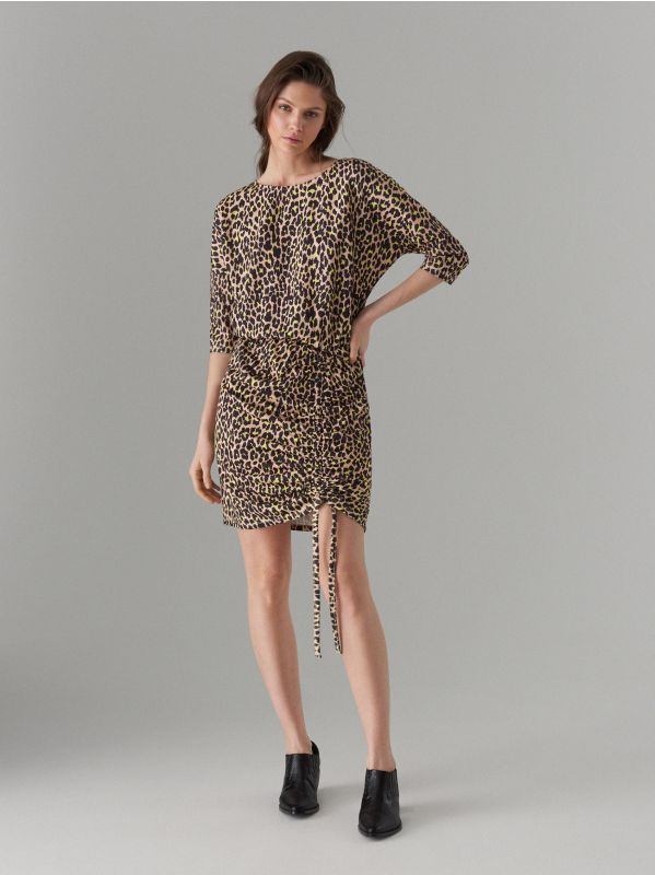 Kleita ar leoparda apdruku - brūna - VU649-83P - Mohito - 1