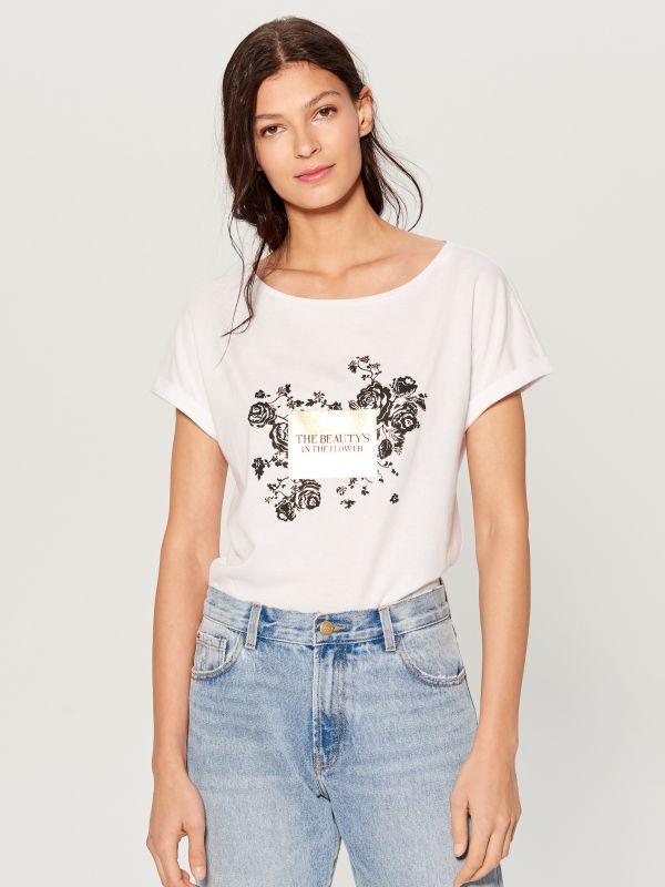 T-krekls ar apdruku - balts - VU865-00X - Mohito - 2