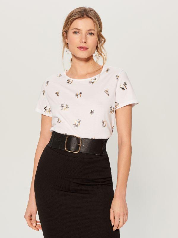 T-krekls ar apdruku - balts - VU866-00X - Mohito - 2