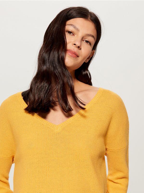 Džemperis ar V veida kakla izgriezumu - dzeltens - VV368-10X - Mohito - 2