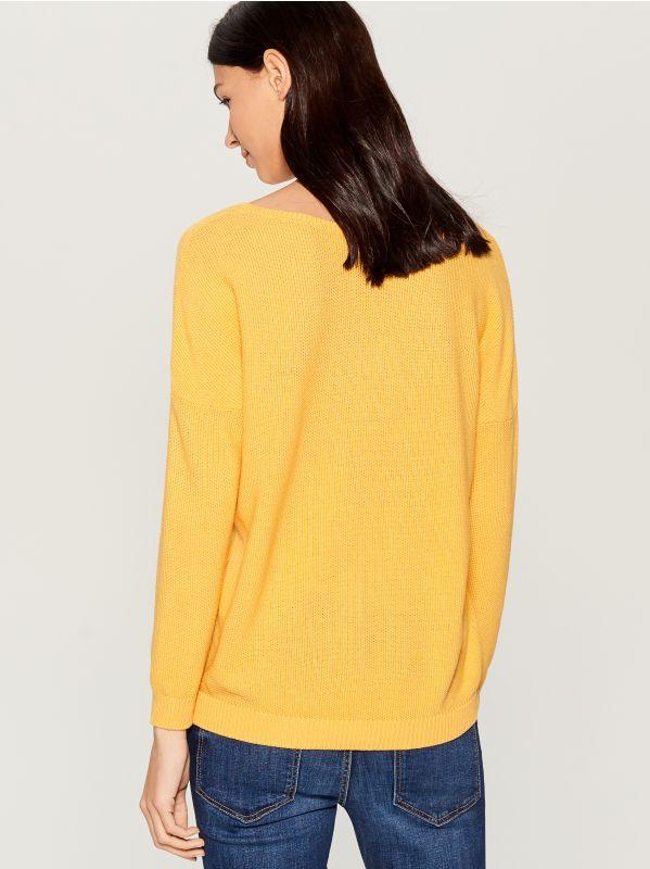 Džemperis ar V veida kakla izgriezumu - dzeltens - VV368-10X - Mohito - 3