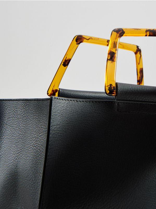 Shopper tipa soma ar dekoratīviem rokturiem - melns - VV522-99X - Mohito - 4