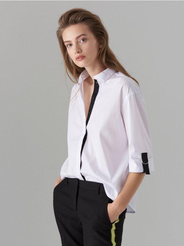 Oversize krekls ar lentītes rotājumu - balts - VV620-00X - Mohito - 1