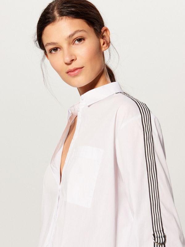 Krekls ar svītrām sānā - balts - VY263-00X - Mohito - 2