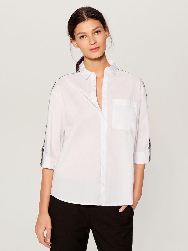 Krekls ar svītrām sānā - balts - VY263-00X - Mohito - 3