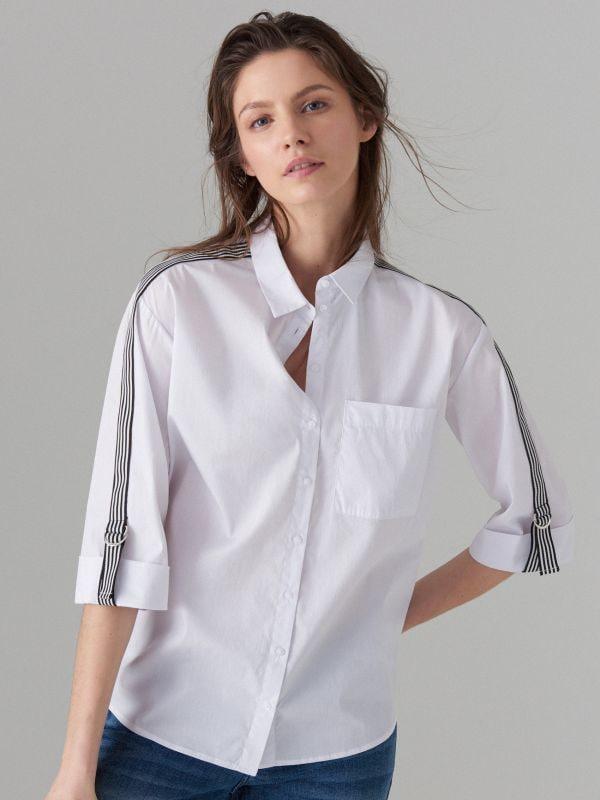 Krekls ar svītrām sānā - balts - VY263-00X - Mohito - 1