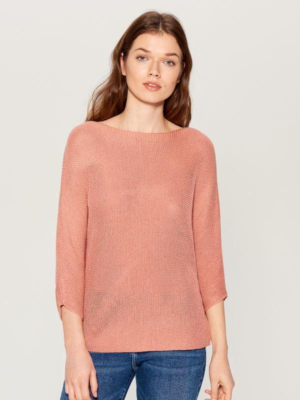 Džemperis ar trīsceturtdaļgaruma piedurknēm - rozā - VZ809-03X - Mohito - 2