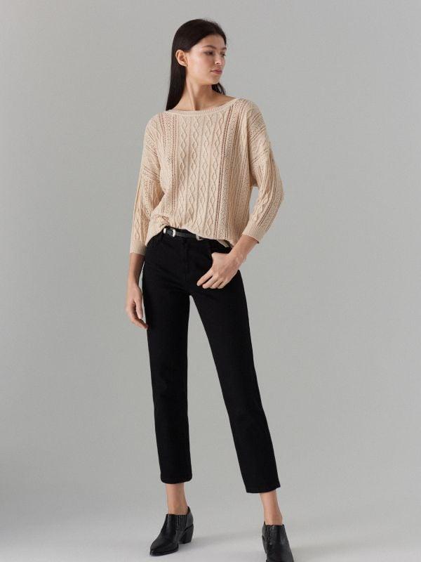 Rievota adījuma džemperis ar ažūru - bēšs - VZ814-08X - Mohito - 2