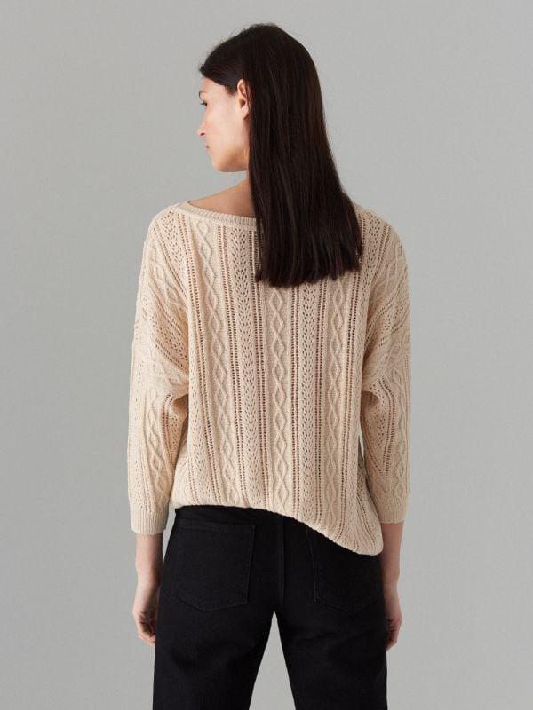 Rievota adījuma džemperis ar ažūru - bēšs - VZ814-08X - Mohito - 3