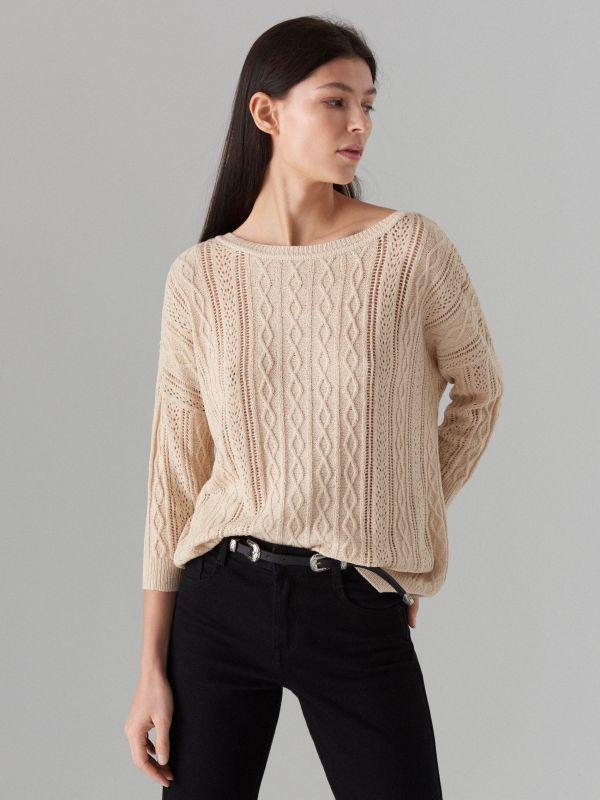 Rievota adījuma džemperis ar ažūru - bēšs - VZ814-08X - Mohito - 4