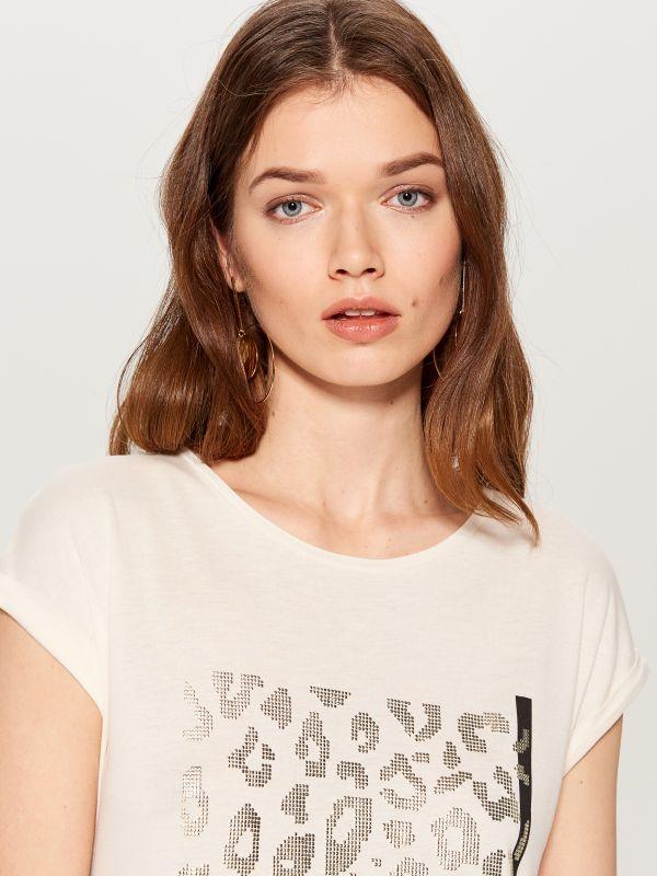 Krekls ar dzīvnieku motīvu - balts - VZ840-00X - Mohito - 1