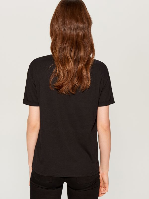 T-krekls ar apdruku - melns - WA959-99M - Mohito - 3