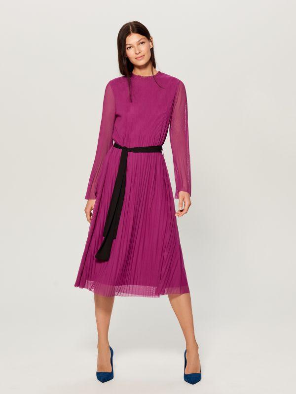Plisowana midi sukienka - różowy - WB460-42X - Mohito - 1