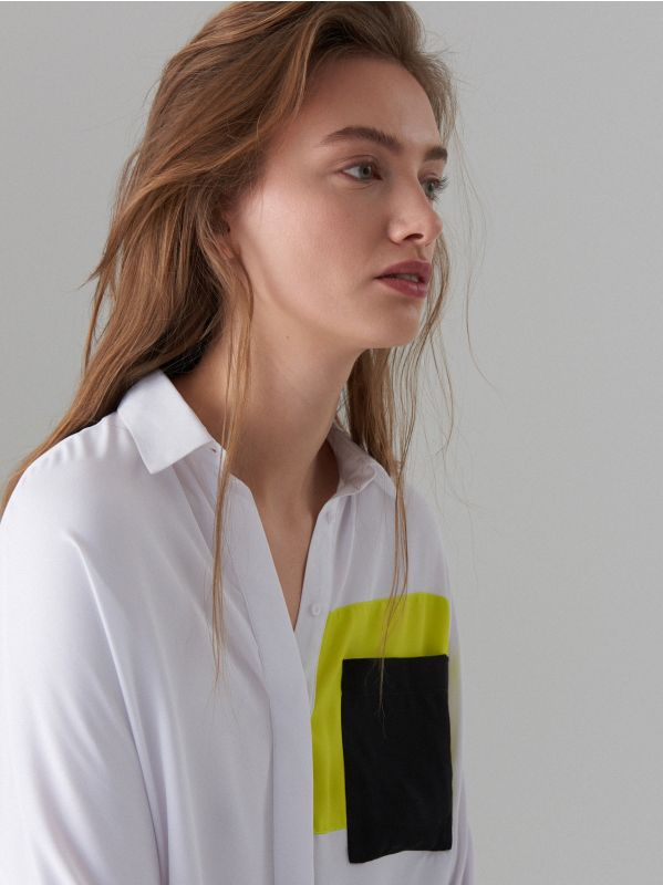 Fluo színblokkos ing - fehér - WE185-00X - Mohito - 3