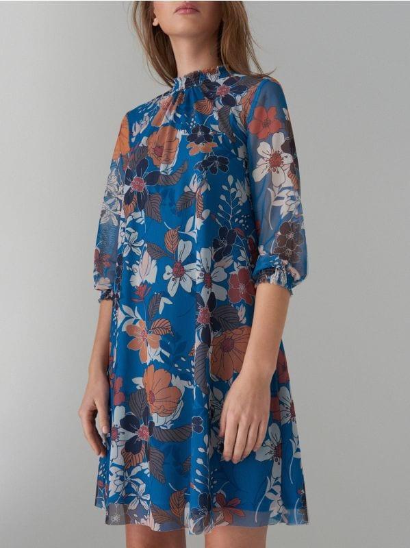 Kleita ar puķainu apdruku - zils - WF483-50P - Mohito - 1
