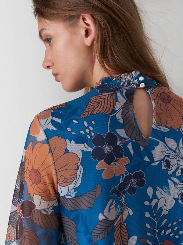 Kleita ar puķainu apdruku - zils - WF483-50P - Mohito - 4