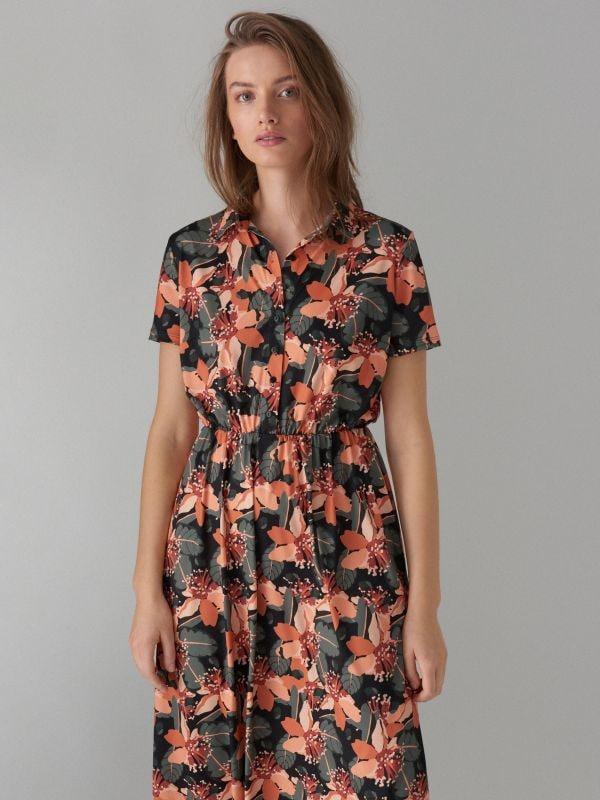 Kreklveida kleita ar ziedu rakstu - zaļš - WF485-87P - Mohito - 3