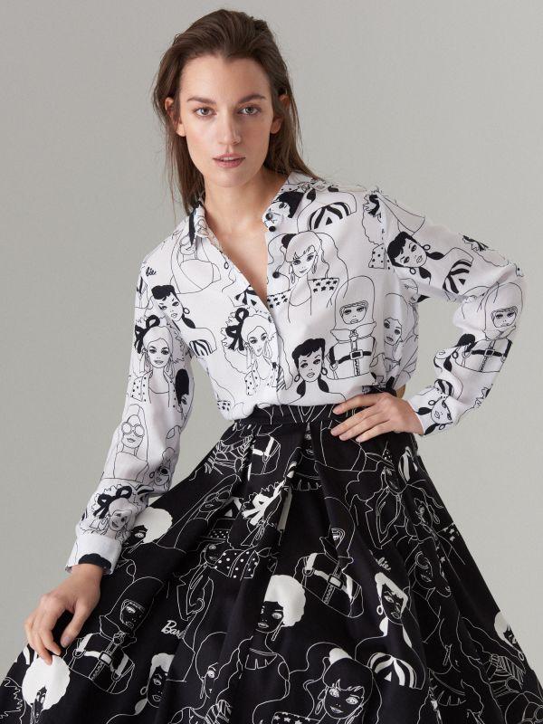 Krekls ar apdruku Barbie  - balts - WG503-00P - Mohito - 1