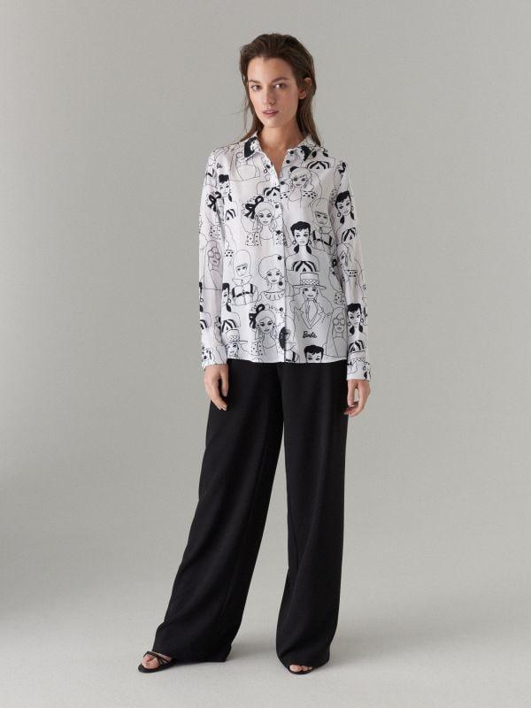 Krekls ar apdruku Barbie  - balts - WG503-00P - Mohito - 2