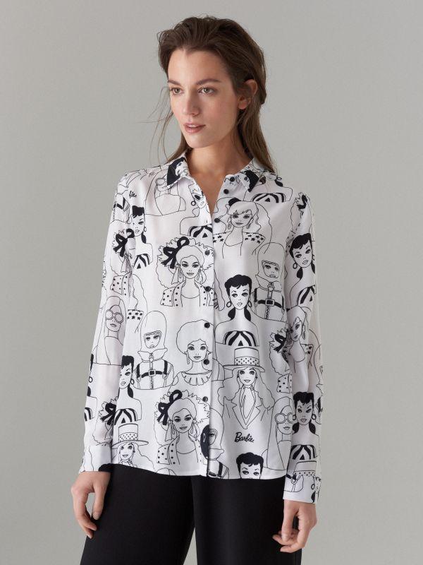 Krekls ar apdruku Barbie  - balts - WG503-00P - Mohito - 4