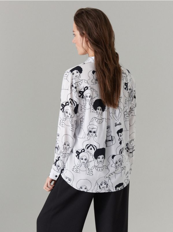 Krekls ar apdruku Barbie  - balts - WG503-00P - Mohito - 5
