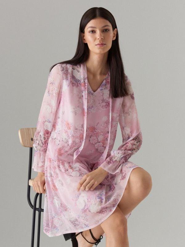 Puķaina kleita ar dekoratīvu šņorējumu - rozā - WG965-39P - Mohito - 3
