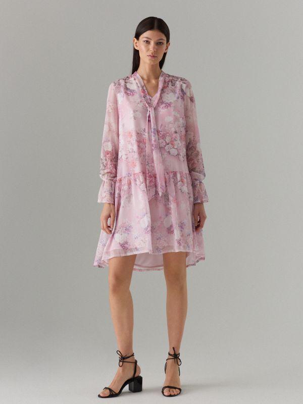 Puķaina kleita ar dekoratīvu šņorējumu - rozā - WG965-39P - Mohito - 1