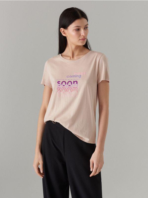 T-krekls ar apdruku - bēšs - WH439-08X - Mohito - 1