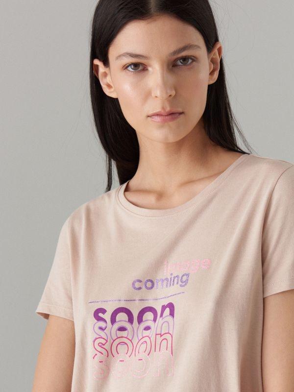 T-krekls ar apdruku - bēšs - WH439-08X - Mohito - 2