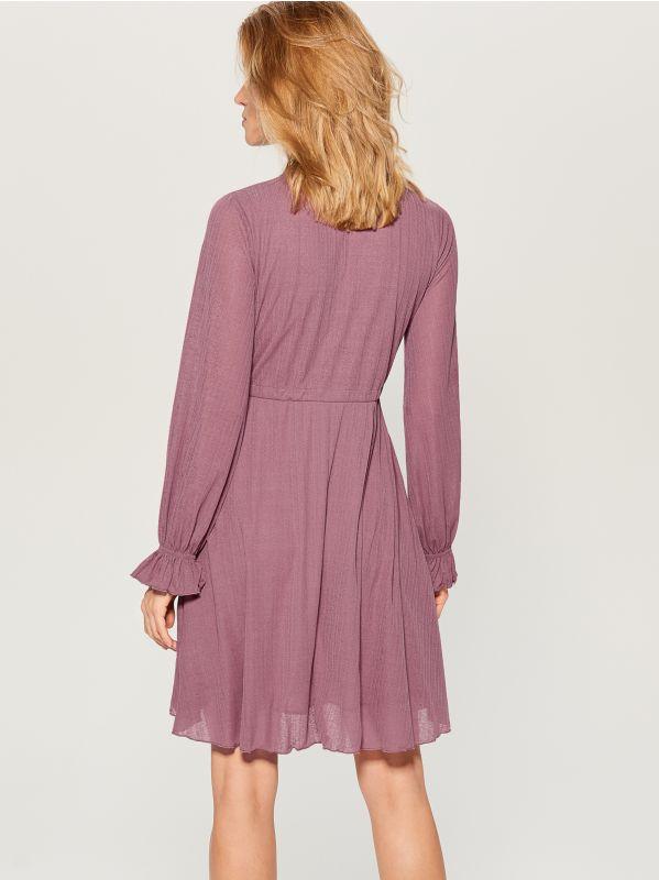 Gaisīga kleita ar volāna rotājumu  - rozā - WK903-39X - Mohito - 5