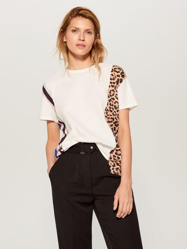T-krekls ar leoparda apdrukas ielaidumu  - balts - WL110-00X - Mohito - 1