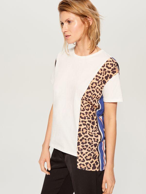 T-krekls ar leoparda apdrukas ielaidumu  - balts - WL110-00X - Mohito - 2