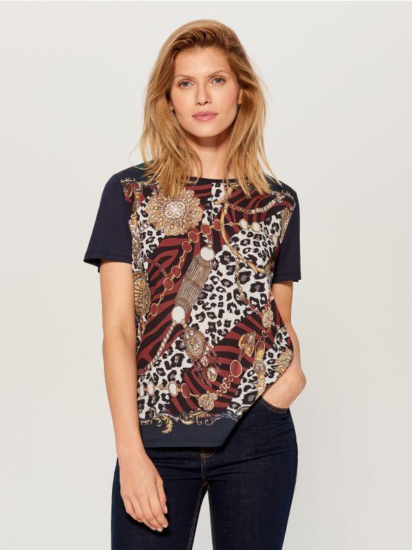 T-krekls ar ķēdes apdruku  - zils - WL113-95X - Mohito - 1