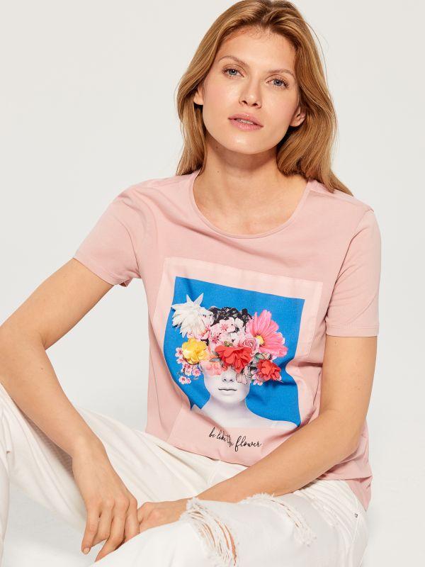 T-krekls ar mākslas aplikāciju - rozā - WL156-03X - Mohito - 1