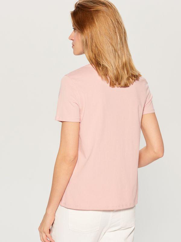 T-krekls ar mākslas aplikāciju - rozā - WL156-03X - Mohito - 3