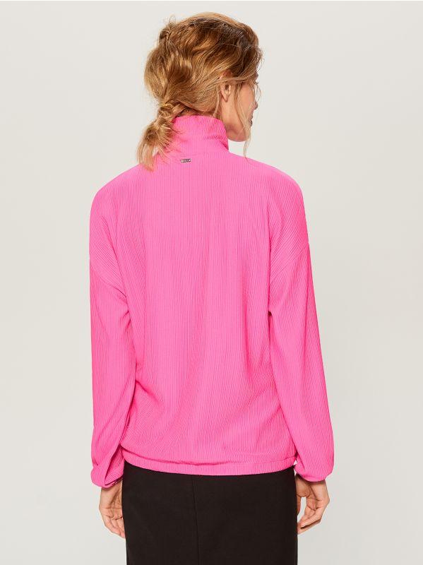 Blūze ar ielocēm un stāvapkaklīti - rozā - WL226-42X - Mohito - 8