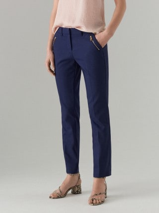 Spodnie cygaretki z zamkami