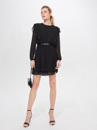 Šifono suknelė su diržu