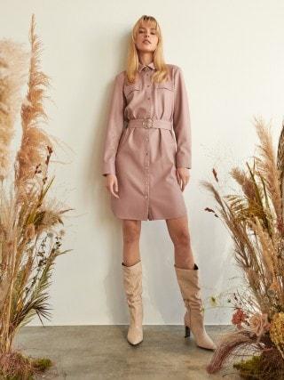Srajca-obleka iz imitacije usnja