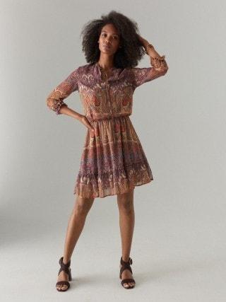 Szyfonowa sukienka we wzór paisley