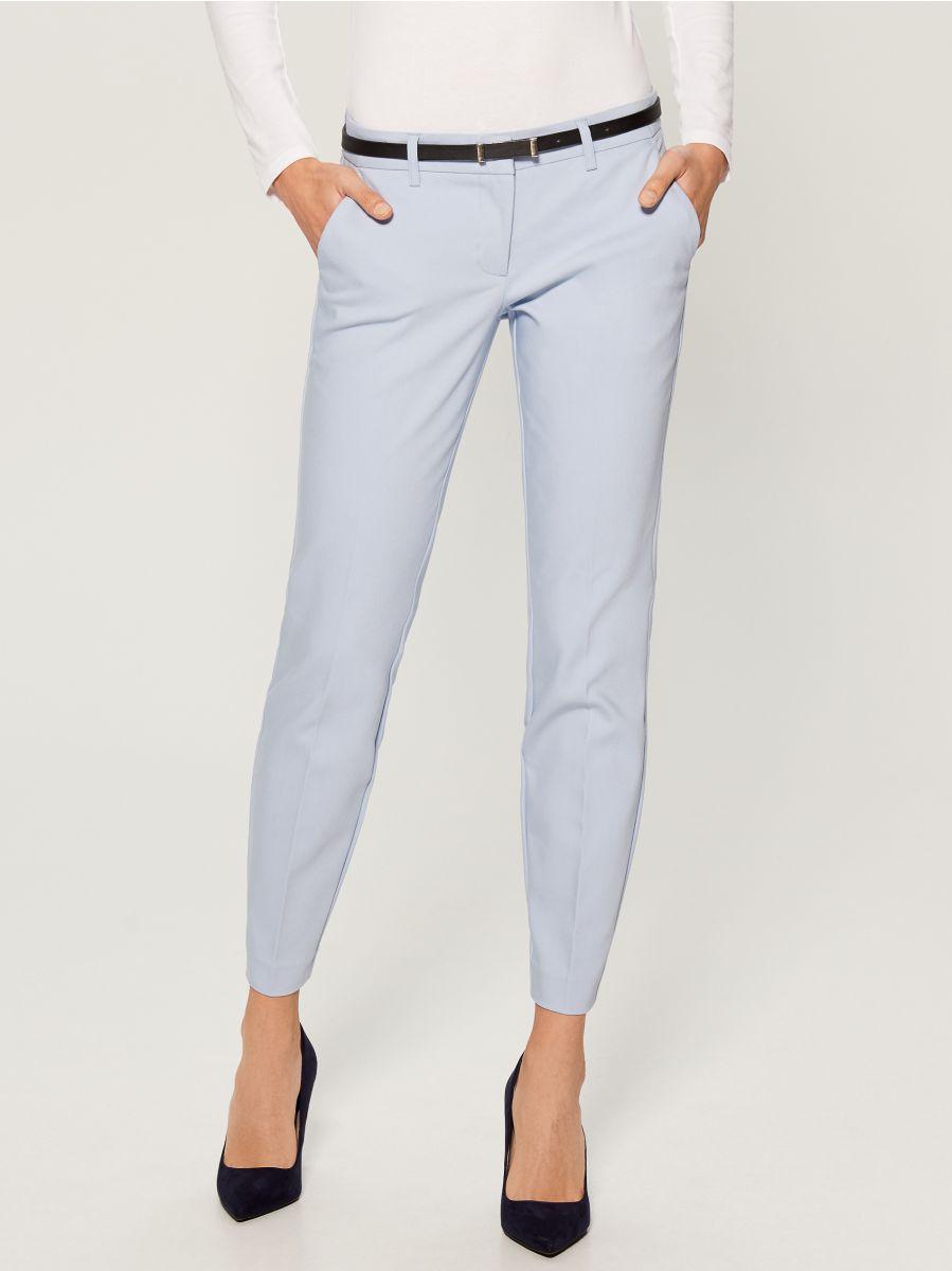 Cigarette pants with belt - blue - UN362-05X - Mohito - 2