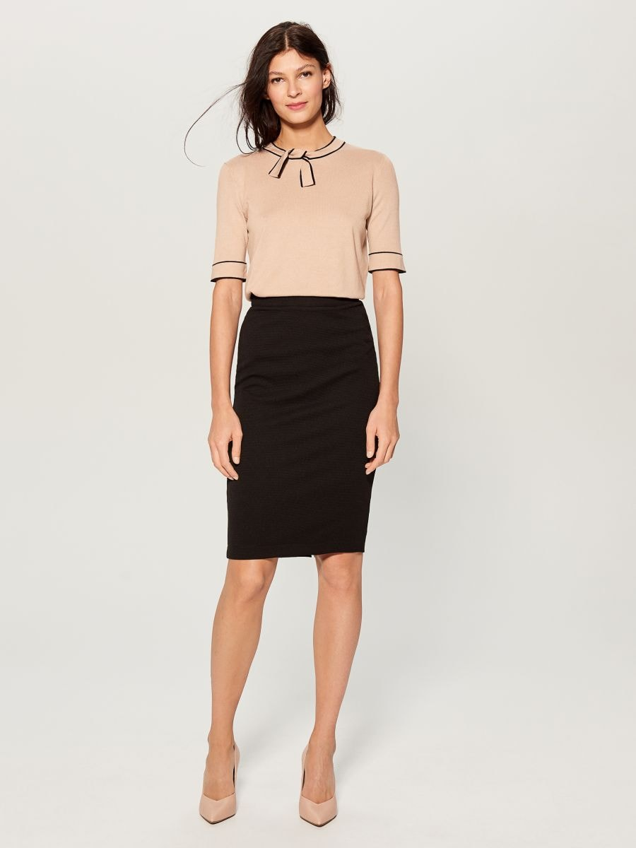 High waisted pencil skirt - black - UN421-99X - Mohito - 3