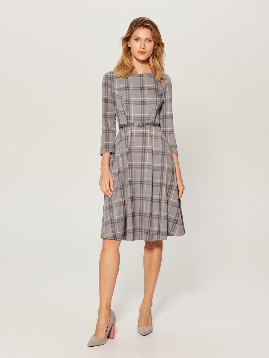 Midi dress with tie waist - grey - UX457-09P - Mohito - 2