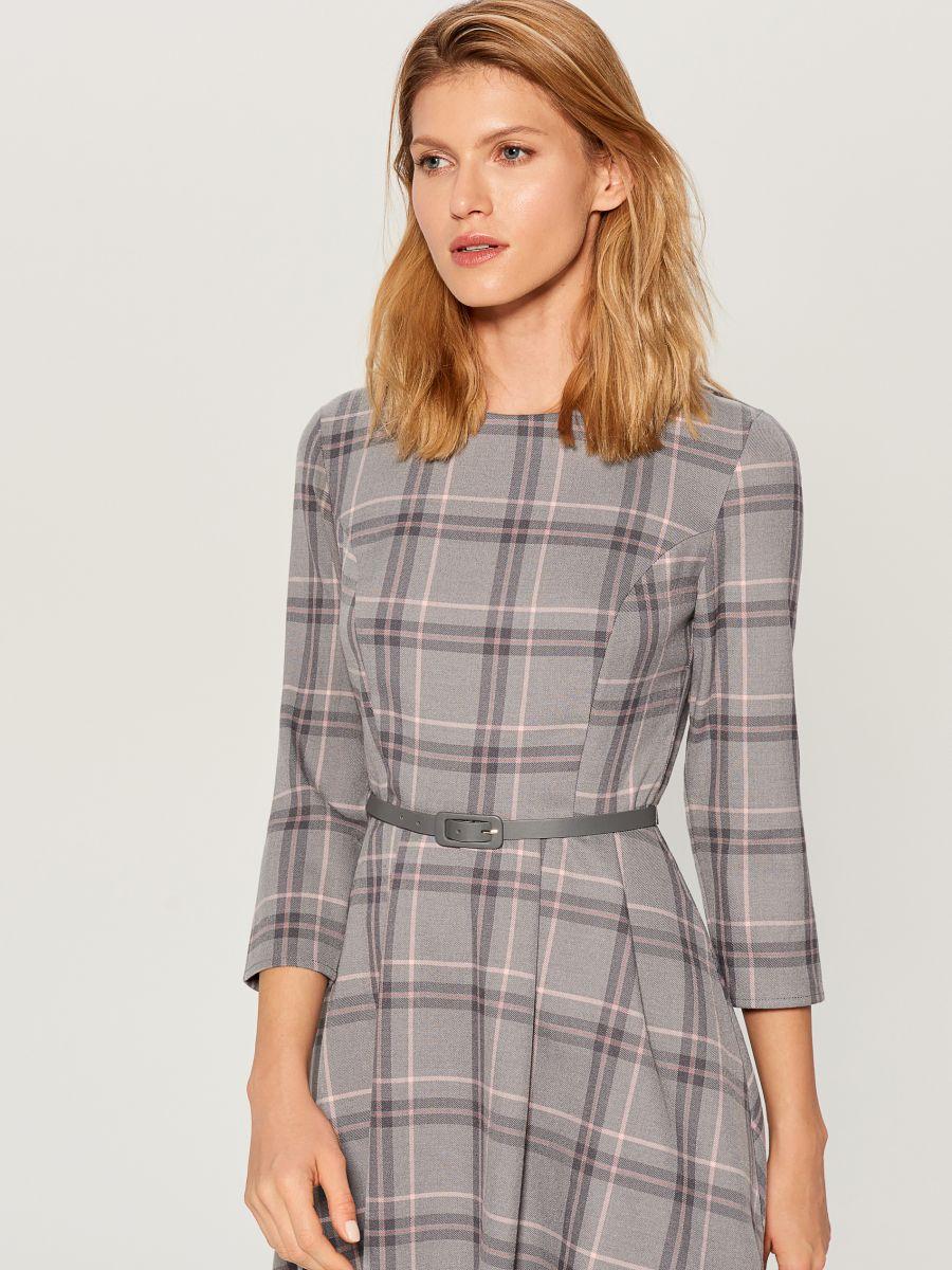 Midi dress with tie waist - grey - UX457-09P - Mohito - 3