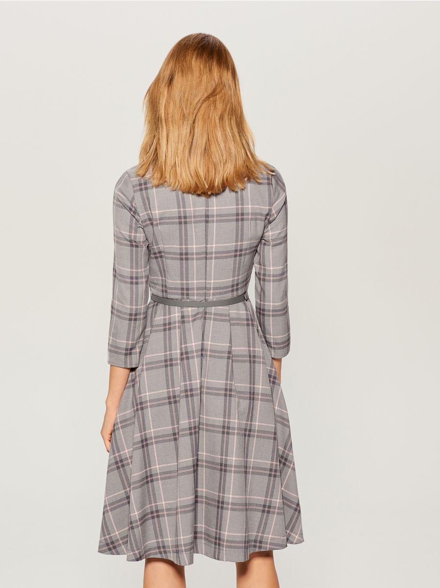 Midi dress with tie waist - grey - UX457-09P - Mohito - 4