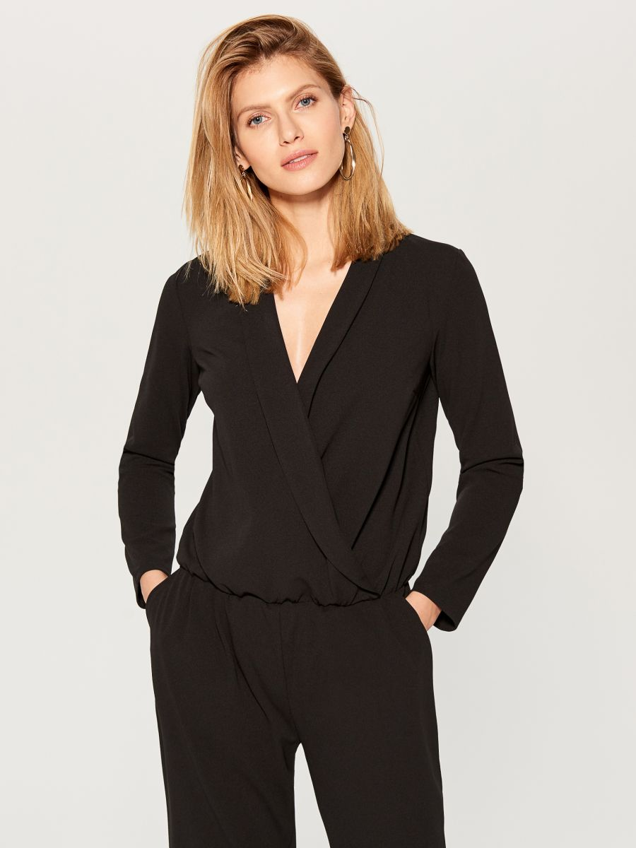 Wrap front jumpsuit - black - UY890-99X - Mohito - 2