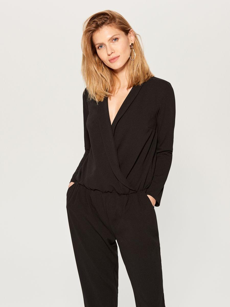 Wrap front jumpsuit - black - UY890-99X - Mohito - 3